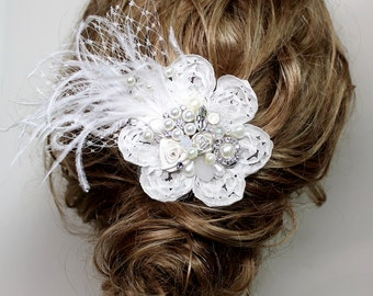 Bridal Hair Comb- Pearl Hairpiece- Wedding Comb- Bridal Hair Accessories-Feather hairpiece-Bird Cage Veil- Floral Hair Accessory-Bridal Comb