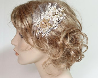Ivory & Gold Hair Comb- Bridal Hair piece- Pearl Bridal hairpiece-Vintage Inspired Bridal Hair Comb - Fascinator- Bridal Hair Accessories