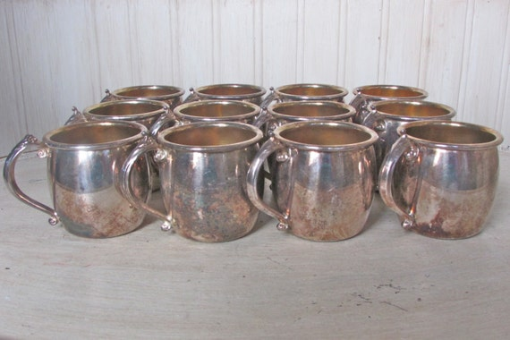 Vintage Silverplate Cups Towle Silver Cups Silver Punch Cup Set of Twelve Victorian Silver Cup