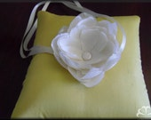 Yellow Silk Shantung Ring Bearer Pillow with Flower and Freshwater Pearl Button
