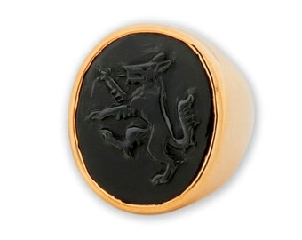 Wolf Ring Black Onyx Regnas Genuine Gemstone Hand Carved Gold Plated Sterling Silver 925