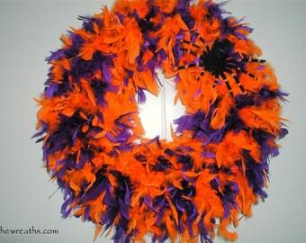 Halloween Wreath with Spider, Halloween Wreath in Purple and Orange, Halloween Feather Wreath, Wreath, Halloween Front Door Wreath