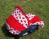 Ladybug baby car seat cover infant seat cover slip cover Graco Red and pink ladybug