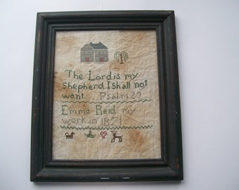 Framed Cross Stitch Antique Sampler Replica
