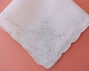 Beautiful Vintage Silk Embroidered Handkerchief with White on White Floral Motif on Each Corner