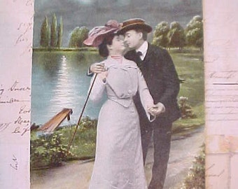 Charming Edwardian Era Postcard with 1907 Lovers
