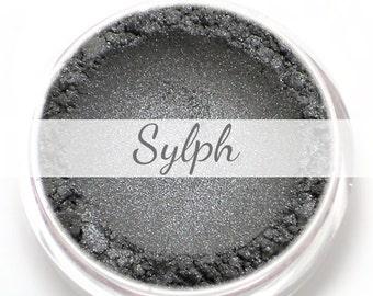 "Eyeshadow Sample - ""Sylph"" - silver, metallic dark gray (Vegan) Mineral Makeup Eye Color Pigment"
