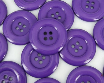 "4 Extra Large Dark Purple Sewing Buttons, Size 34mm (1-1/4"") - bold beautiful purple color, 4 hole buttons with gift wrap"