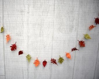 leaf garland, fall garland, 6 ft fall paper leaf garland, fall decoration, fall wedding garland, wedding decoration, fall colors