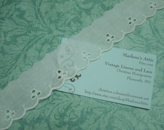1 yard of 1 1/4 inch White Eyelet scalloped edge lace trim for sewing, costume, bridal, baby, wedding, couture by MarlenesAttic - Item DD9