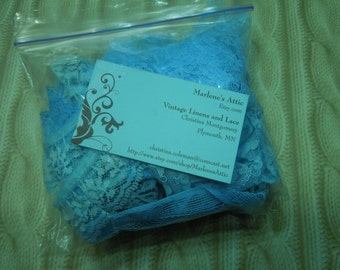 One Goodie Grab bag of blue lace for crafts, sewing, couture, costume, trim, bridal, baby by MarlenesAttic