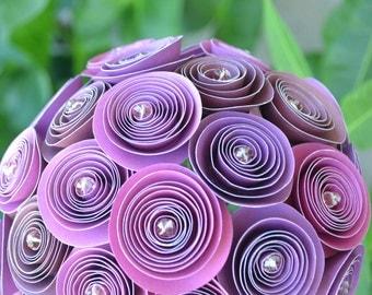 Wedding bouquet, paper flowers, purple lavender - ready to ship!