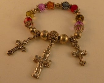 Colorful Cross Charm Bracelet