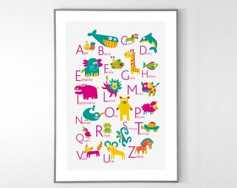 Italian Alphabet Poster with animals from A to Z, BIG POSTER 13x19 inches - Baby Children Nursery Custom Wall Print Poster