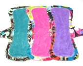"8"" Petite OBV or Minky Reusable Menstrual Pad / Mama Cloth Pad / Incontinence Pad with Tabs - Set of 3 - Customize Your Fabrics and Backing"