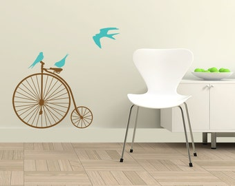 Bicycle, Vinyl Wall Decal, Home Decoration, Wall Stickers, Bicycle Wall Art, Birds Wall Sticker, Living Room Decor, Wall Stickers - ID51 [p]
