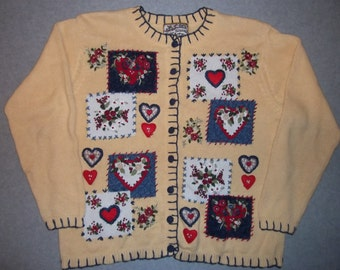 Heart Attack Valentines Love is in the Air Cupid Yellow Sweater Long Sleeve Button Up Tacky Gaudy Ugly Christmas Sweater Party X-Mas L Large