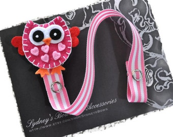 Pacifier Clip, Girl,  Pink Owl Pacifier Clip, Pacifier Holder