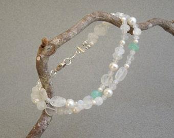Gemstone Bracelet: Rainbow Moonstone, Pearls, and Chalcedony
