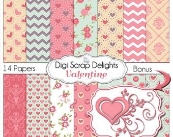 Valentine Digital Papers,  Bonus Swirl Heart, for Digital Scrapbooking, Crafts, Cards, Pink & Blue Heart Patterns,  Instant Download