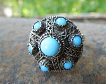 Etruscan Style Ring Filigree Scroll Work Rope Twist Blue Stones Size 7