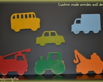 wooden wall decor, set of 6 transportation wall decor, truck wall decor, boys room decor, fire truck, school bus, tow truck, tractor, cars