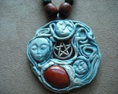 Triple Goddess Polymer Clay Necklace