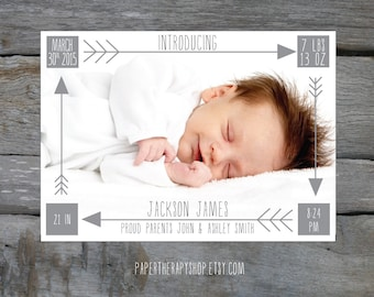 Arrows Birth Announcement BOY or GIRL