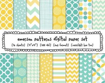 aqua blue yellow digital papers, baby girl boy nursery patterns, chevron zig zag polka dot, stripe quatrefoil trellis instant download - 535