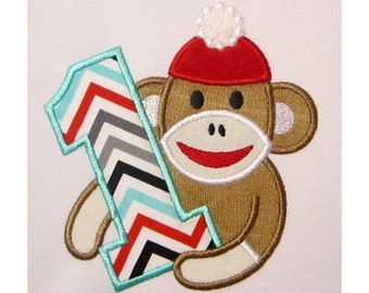Sock Monkey Boy Happy Birthday Number 1 Applique Embroidery Design HB020