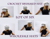 Whole Sale Hats Lot of 6 Crochet Womens Brimmed Cap with Button Strap