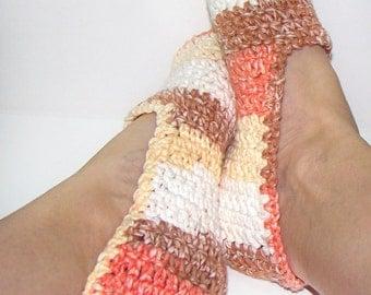 Crochet Slippers Sandstone Stripe, Cotton Slipper Socks, Mary Jane Slippers, Ballet Socks, Cotton Ballet Slipper, Crochet Fashion