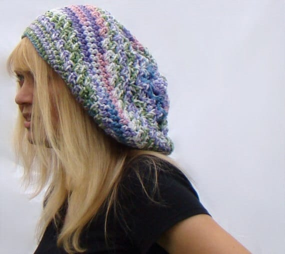 Pastel Slouch Hat, Crochet Beanie, Womens Extra Slouchy Beanie, Multicolor Crochet Tam