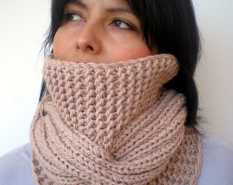 Tour Fashion   Cowl Super Soft mixed  Wool Neckwarmer Women/Men Chunky Cabled Cowl