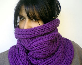 Shory  Big Cowl Super Soft mixed Wool Neckwarmer  Chunky Texture Fashion Purple Cabled Big Cowl