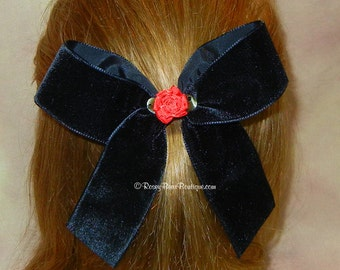 "Black Velvet Hair Bow w/ Red Satin Rosette - Long Tail 5.5"" RoseyBow® - Holiday, Special Occasion, Flower Girl, Christmas Velvet Hair Bow"