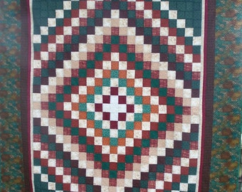 Jade and Brown 85'' x 105'' Quilt