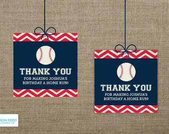 Baseball Favor Tags - Baseball Birthday - Chevron - Baseball Printable - Boy Birthday - Sports Birthday - Printable Party - First Birthday