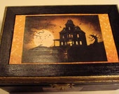Haunted House Wooden Jewelry Box for Halloween