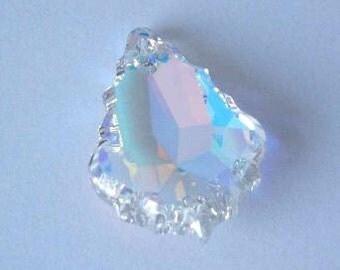 1 SWAROVSKI 6091 Flat Baroque Pendant Crystal 28mm CRYSTAL AB