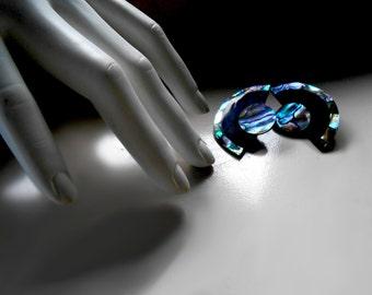 Geometric Earrings/ Abalone Earrings/ Shell Earrings/ Blue Abalone/ 80s Earrings/ Large Earrings/ Rainbow Abalone/ Neon Earrings/ Beach