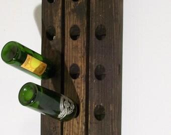 Reclaimed Wood Riddling Rack Rustic Style 15-Bottle Winerack