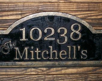 Address Sign Custom Carved Antique Brass Finished  Large Wood Plaque