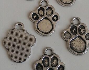 CLEARANCE 24Tibetan Silver Dog Puppy Paw Charm Pendant  22 x 16 mm