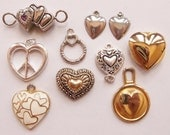 a heart-felt destash of cute heart findings for creating assemblages, collages and diy jewelry--lot of 10