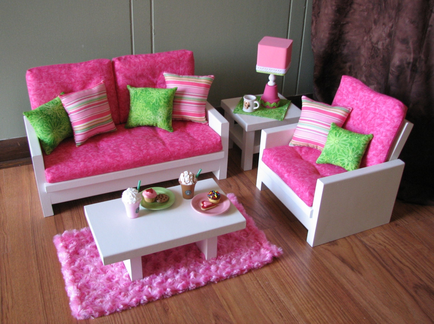 ... Girl sized Living Room - Loveseat / Chair / Coffee. 🔎zoom - 18 Doll Furniture American Girl Sized Living Room