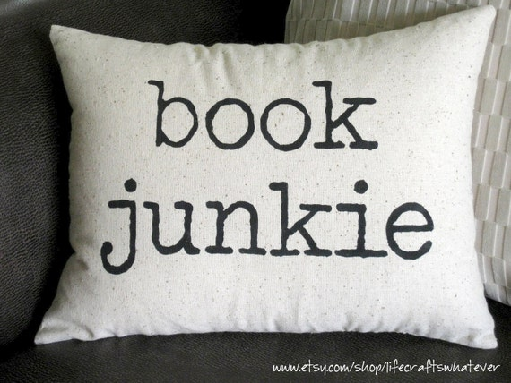 Book Junkie decorative pillow 12x16 with insert