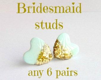 Bridesmaid stud set of 6, preppy earrings, delicate jewelry, wedding post earrings, pick any design