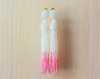 Beaded Tassel Clip-On Earrings Ombre White Pink (made to order)