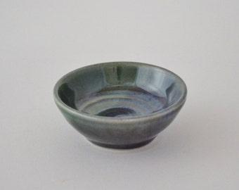 "Miniature Pot, Tiny Hand Thrown Bowl, Glazed Stoneware, Green Blue Little Pottery, 3/4"" tall, IN STOCK"
